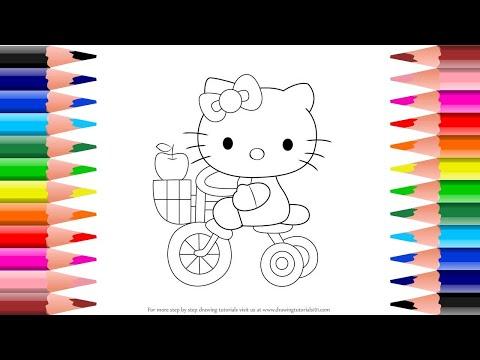 ระบายสี เฮลโล่ คิตตี้ ปั่นจักรยาน|Coloring book Hello Kitty