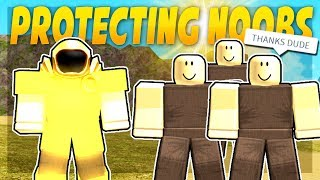 PRO PROTECTS NOOBS EN BOOGA BOOGA ROBLOX