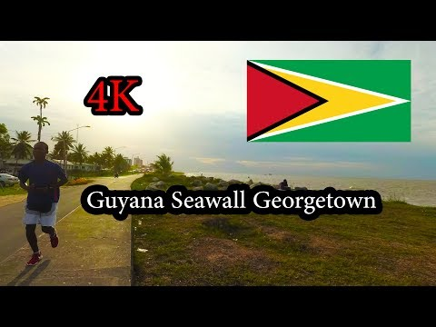 4K Guyana Seawall Georgetown- Walking Along the Beach - Sept 2017 - Yi4K+