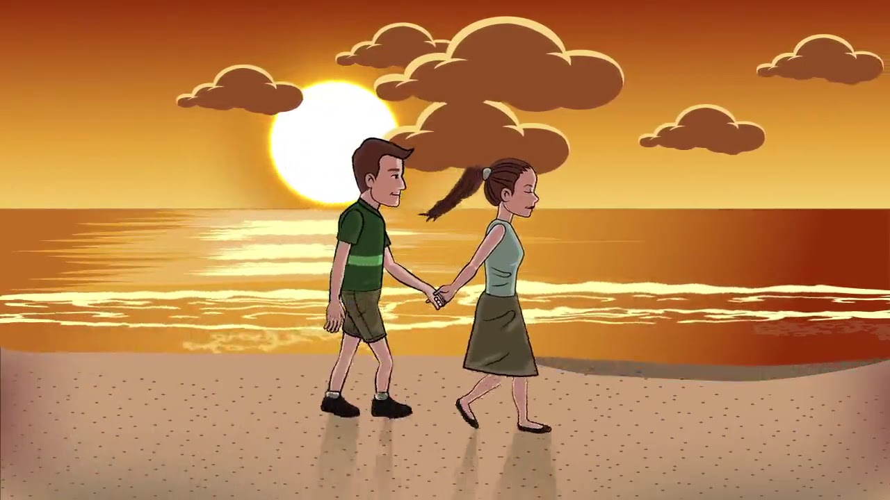 Animated couple walking on beach moving video background