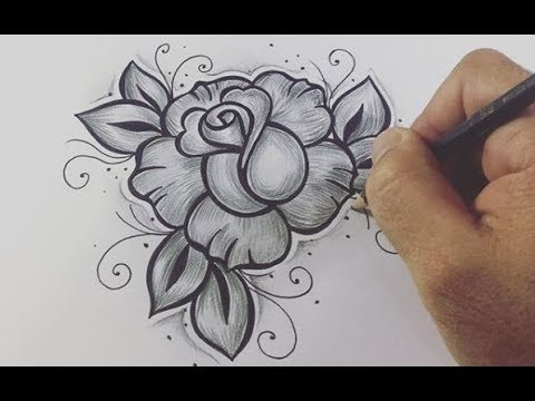Como Desenhar Rosa Estilo Tattoo Passo A Passo 444 Youtube
