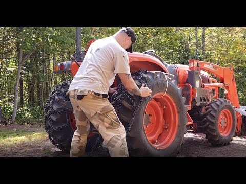 Installing Trygg Ice and Forestry Chains on the Tractor