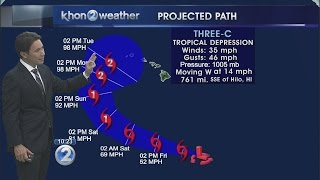 Tropical Depression Three-C moving west-northwest far southeast of Hawaii