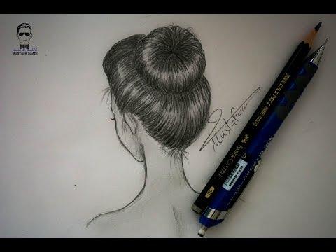 تعلم رسم الشعر بالرصاص بتسريحة الكعكة للمبتدئين