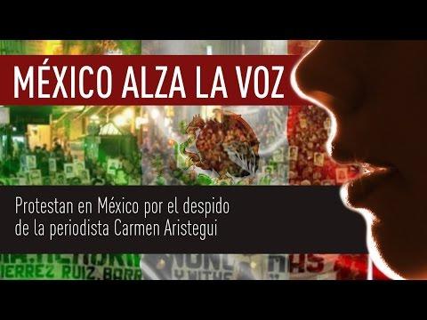 Protestan en México por el despido de la periodista Carmen Aristegui