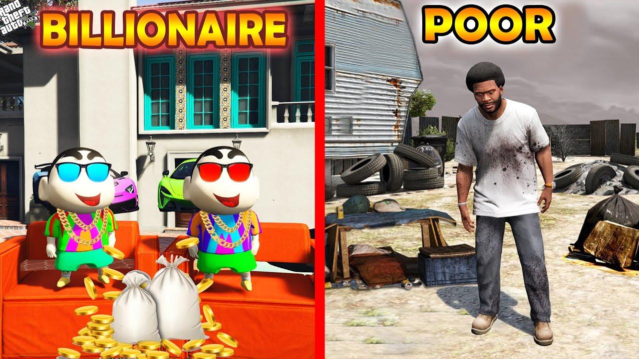GTA 5 : Franklin become Poor & Shinchan And Pinchan Become Billionaire in GTA 5 ! (GTA 5 mods)