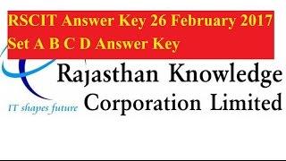 RSCIT Answer Key 26 February 2017 Set A B C D Answer Key