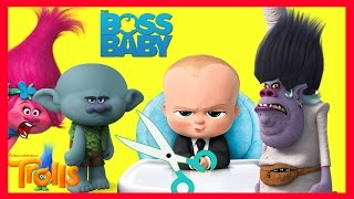 Boss Baby Cuts Trolls Hair with Bergen Chef Part 12 - Smurfs Toys | Ellie Sparkles
