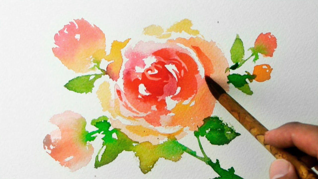 Watercolor painting roses jay art youtube for How to paint a rose watercolor