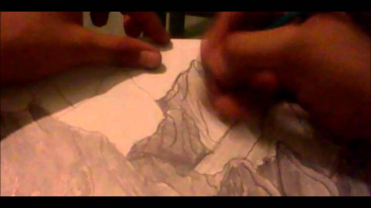 Cmo dibujar un paisaje Montaoso con nubes pasta y rboles a