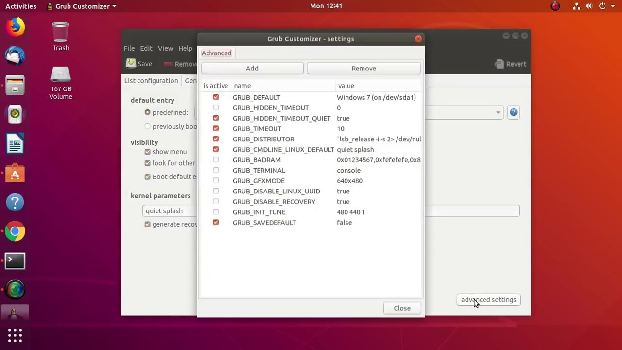 Grub configuration or setting boot order in grub in linux