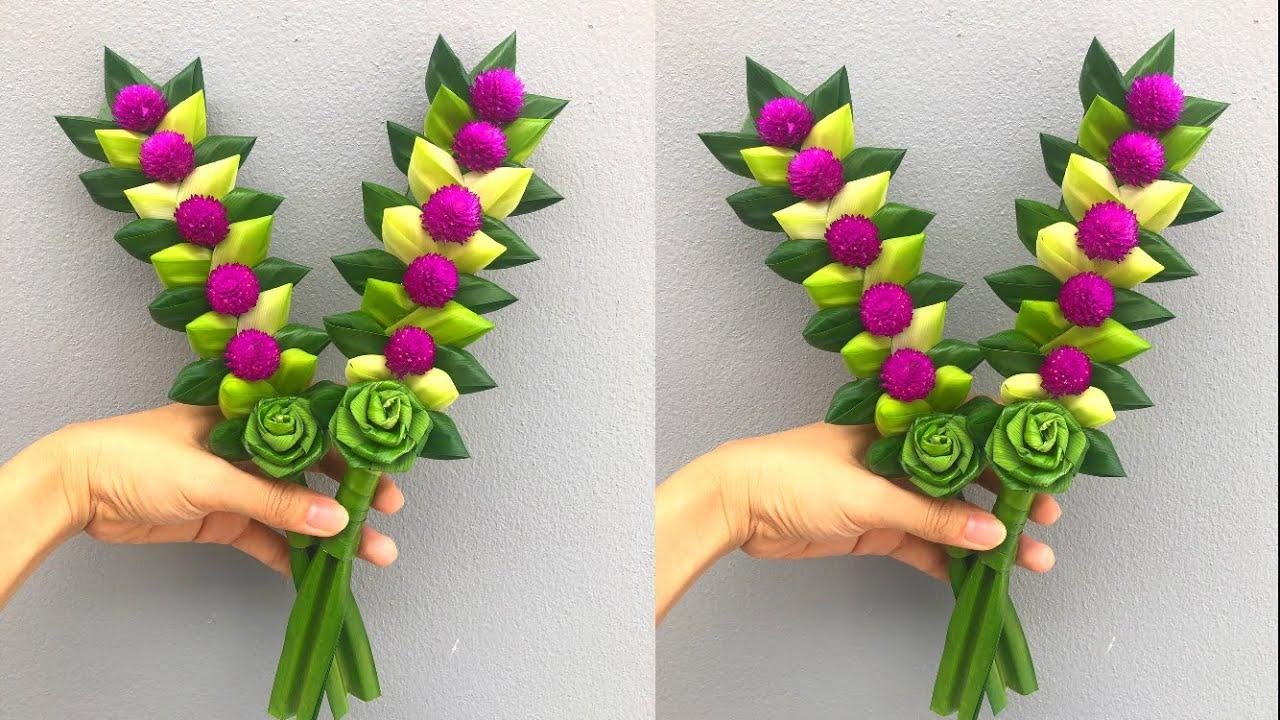 พับใบเตยดอกกุหลาบ | ดอกไม้ไหว้พระจากใบเตย และบานไม่รู้โรย แบบที่ 9 DIY Pandan leaves | MeeDee DIY