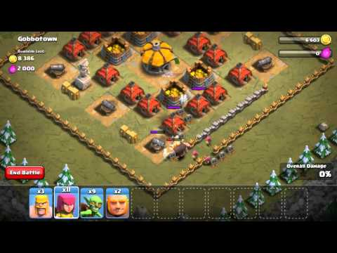 Clash of clans  fighting the gobbotown
