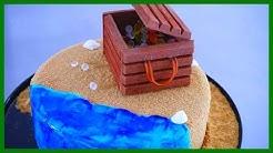 Einfach, Anfängerfreundlich & super schnelle Schatztruhen Torte mit Strandeffekt - Kuchenfee
