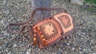 CROCHET How to #Crochet (6 GRANNY SQUARE PURSE) Handbag #TUTORIAL #92 LEARN CROCHET DYI