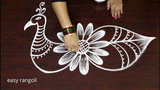creative peacock rangoli art designs - how to draw  peacock kolam designs freehand