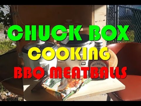 Portable Chuck Box Cooking BBQ Meatballs In Rice Cooker – (V1210) Minimalist Cheap BBQ Meatballs