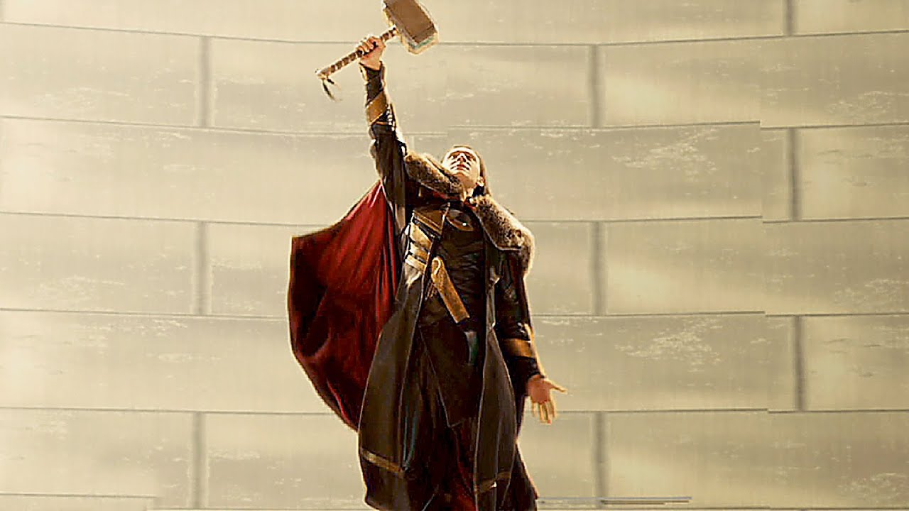 loki wields thor s hammer deleted scene from thor 2 youtube