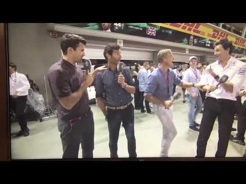 David Coulthard gets hit by Toto Wolff