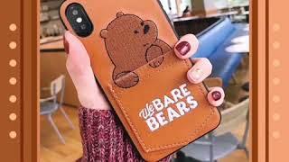 Sale iPhone X Case luxury Pu Leather Cartoon Bear 7/6s/8 8 Cover