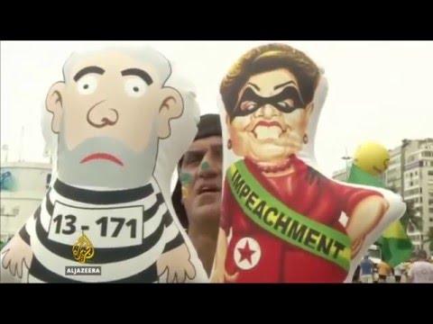Hundreds protest in Brazil to demand president's resignation