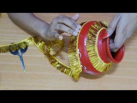 how to decorate Easy Kalash for Navratri /Pot decoration for diwali/Pot painting/Easy Pot Decoration