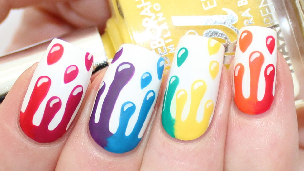 Rainbow Dripping Paint Nail Art Tutorial Youtube