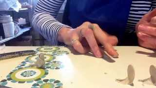 Making a rose out of bone china clay
