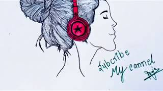 How to draw a girl listening headphones