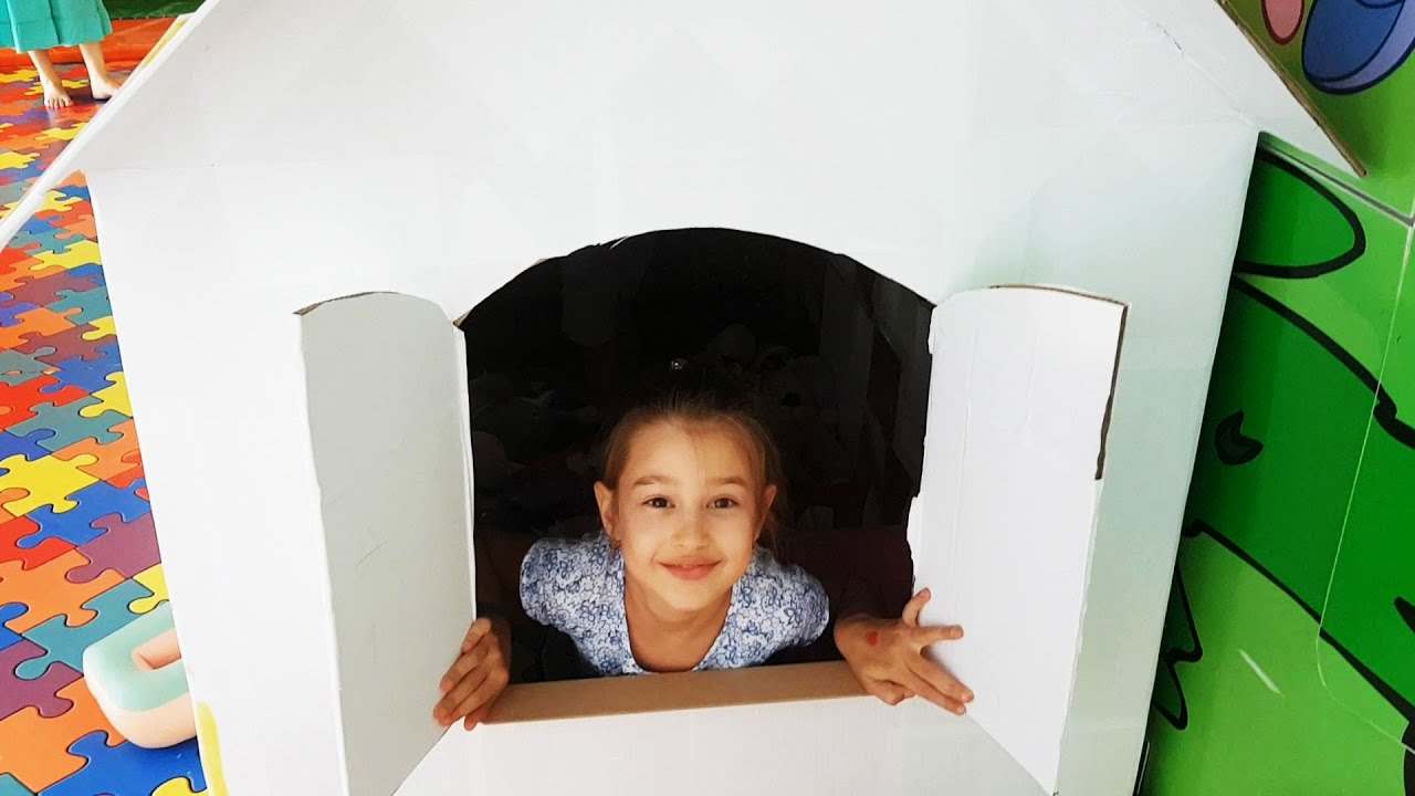 Indoor playground fun for kids with cardboard house Video 2016