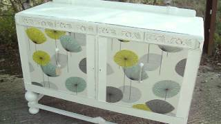Vintage Retro Painted Shabby Chic Sideboard Sanderson Dandelion Decoupage