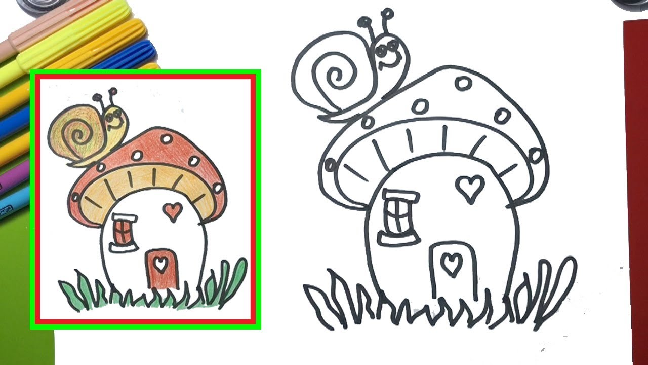 How to draw a mushroom house coloring pages