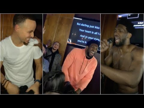 Stephen Curry and Joel Embiid sing karaoke at party at the All Star Weekend