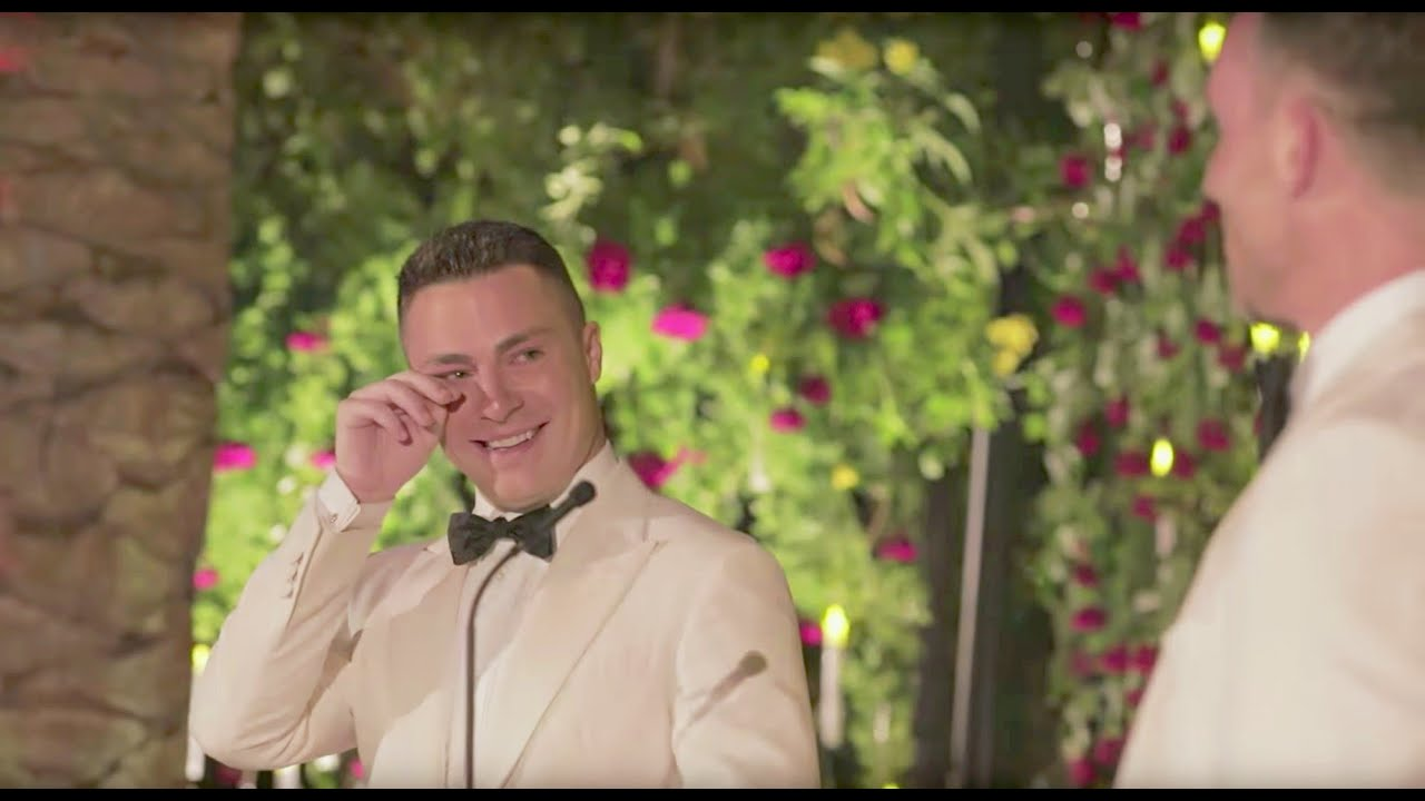 Colton haynes shares tearful jeff leatham wedding youtube
