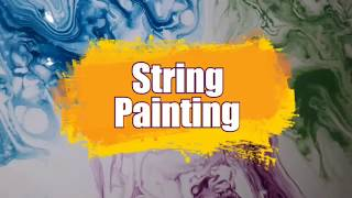 91 - String Dip in Acrylic idea trial.... creates String Cells *LOVE* - String painting