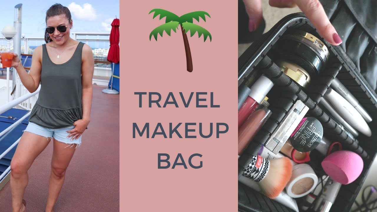 TRAVEL MAKEUP FOR BEACH VACATION | MAKEUP BAG & PACKING TIPS