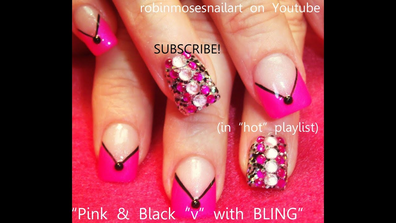 pink and black blinged out chevron nails! hot nail art design