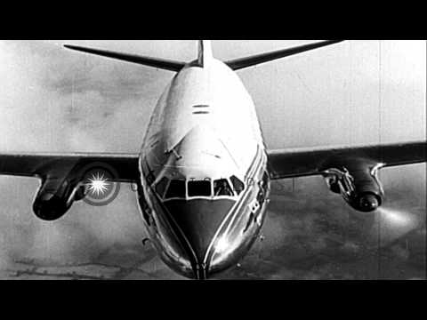 Test of first 64 Vickers Viscount turbo-prop transport planes, ordered by Capital...HD Stock Footage