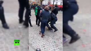 Macron aide beats up student protester during May Day rally