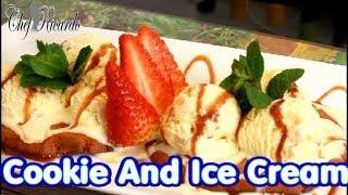 Cookie and ice cream dessert With strawberry fresh mint milk chocolate