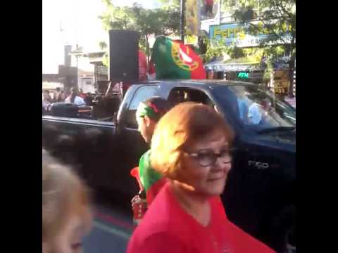 EURO 2016: Portuguese fans parade on Ferry St after Portugal defeats France (July 10, 2016).