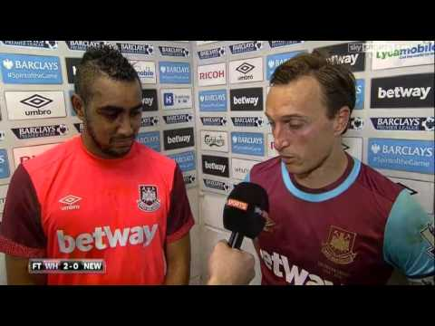 West Ham 2-0 Newcastle - Mark Noble & Demitri Payet Post Match Interview