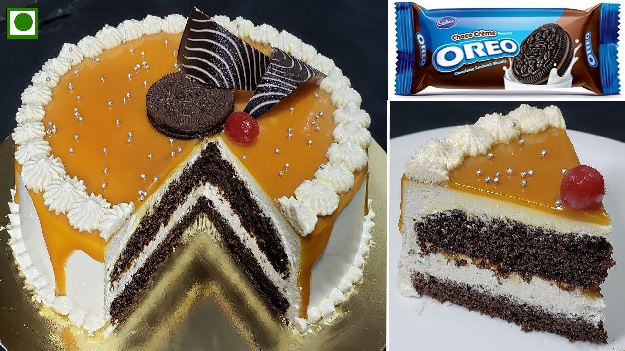 बिना मेजरमेंट एग्ग्लेस ओरिओ बटरस्कॉच केक | Soft and Spongy Eggless Oreo Chocolate Butterscotch Cake