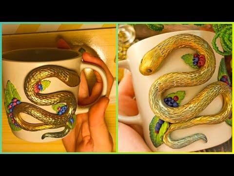 Diy polymer clay cup decor. Polymer clay Snake. Polymer clay tutorial