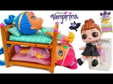 Don't Wake Vampirina Shimmer Shine LOL Surprise Dolls Routine Sister Pool Nightmare Emergency Party!