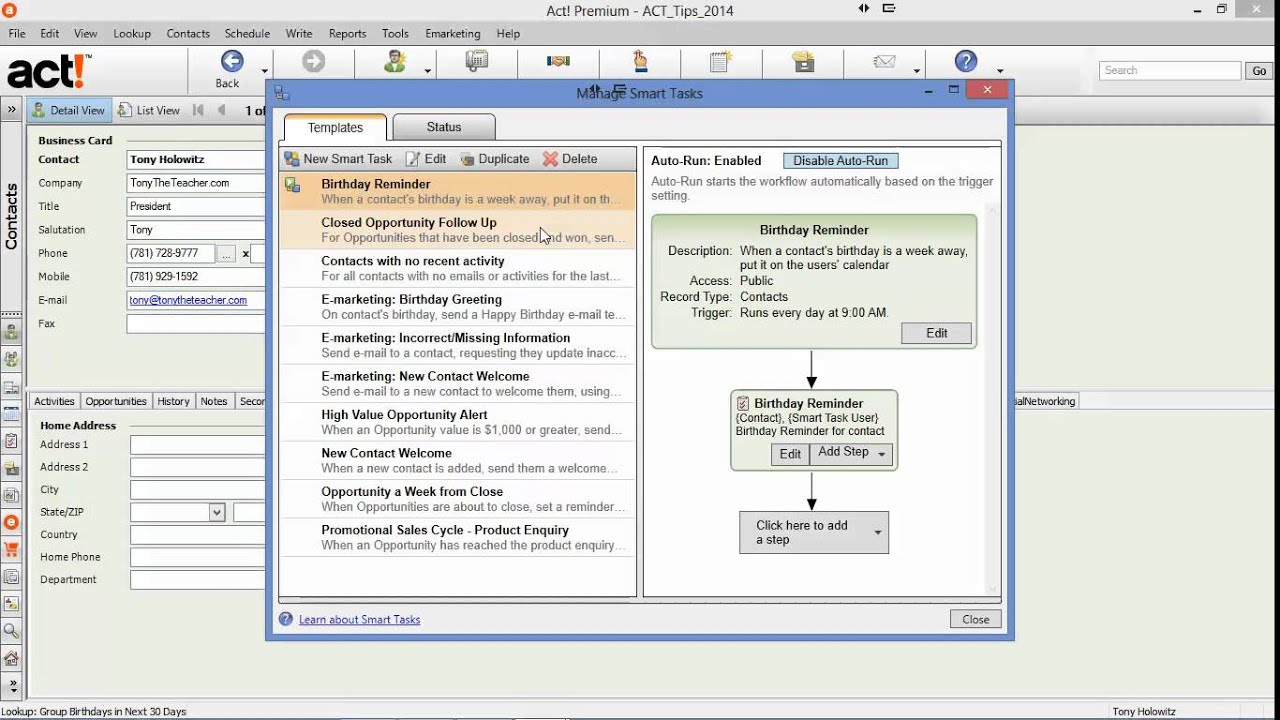 Birthday Reminder Automated With Smart Tasks Youtube