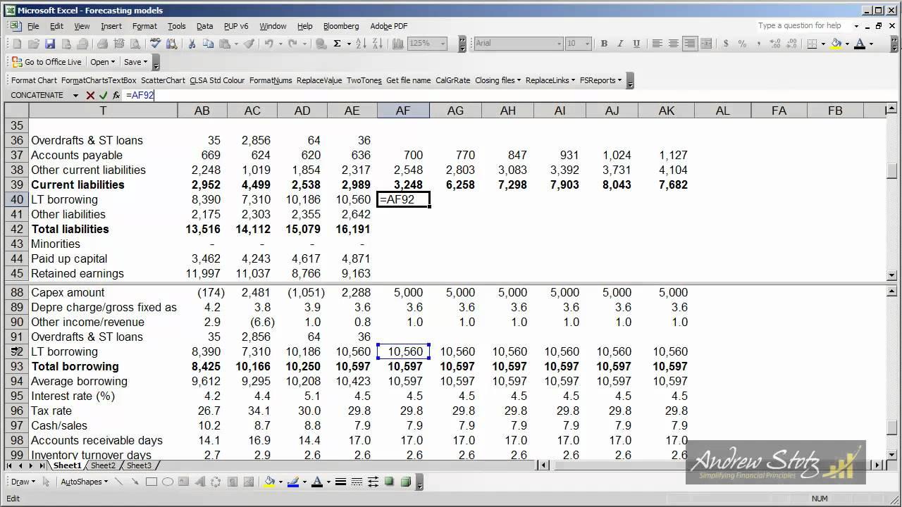 forecasting step 6 forecasting balance sheet