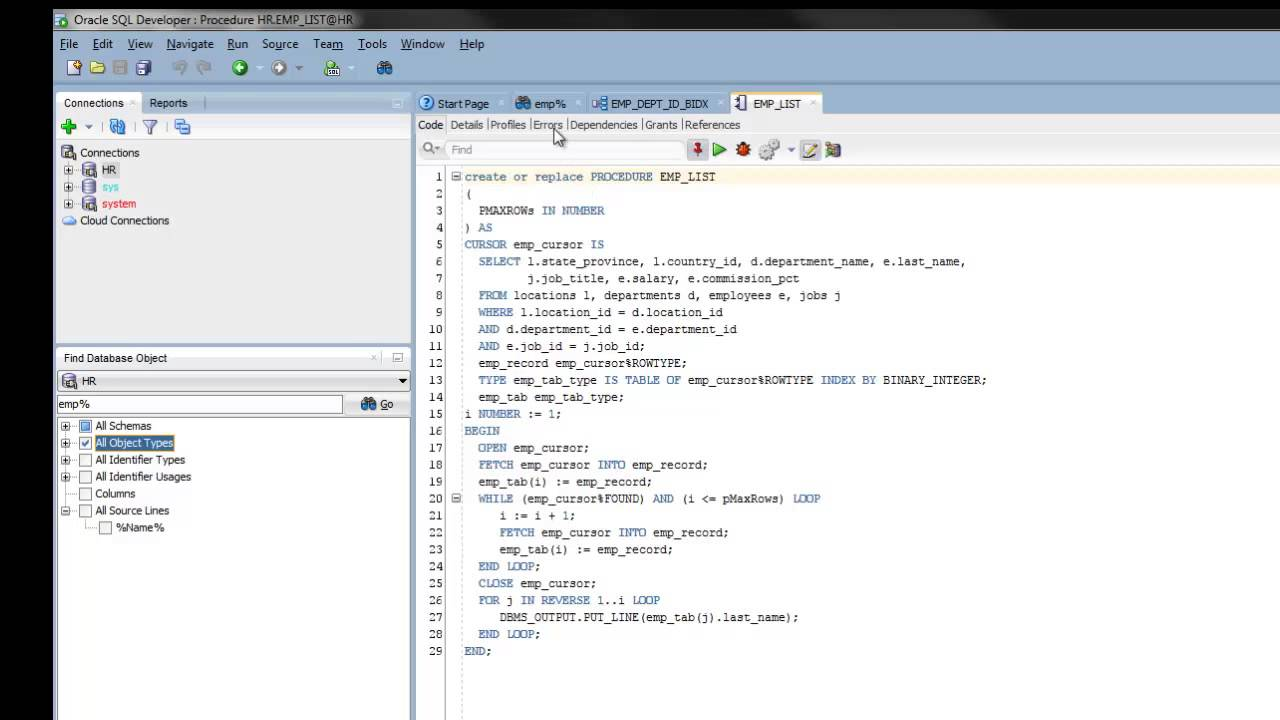 Find Database Object in SQL Developer 4 0