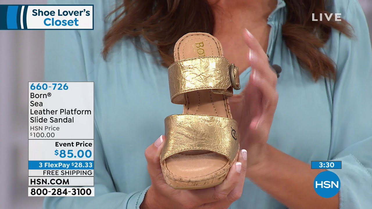 Repeat Born Sea Leather Platform Slide Sandal by HSNtv