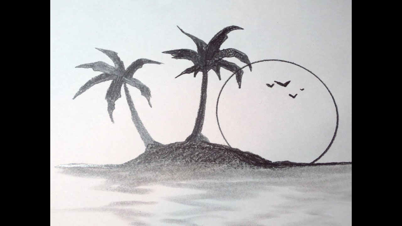 How To Draw A Tropical Island - YouTube